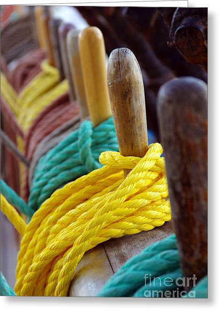 Yellow Sailboats Greeting Cards - Ship Rigging Greeting Card by Carlos Caetano