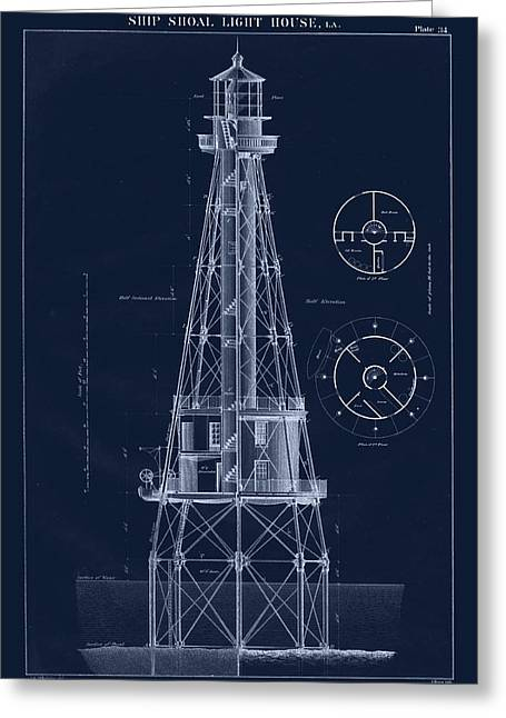 U.s. Coast Guard Drawings Greeting Cards - Ship Shoal Lighthouse Drawing Greeting Card by Jerry McElroy