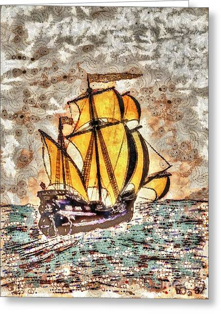 Bred Mixed Media Greeting Cards - Ship Greeting Card by Yury Bashkin