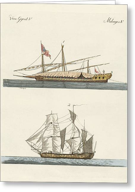 Various Drawings Greeting Cards - Ships Greeting Card by Splendid Art Prints