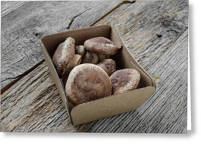 Cardboard Greeting Cards - Shitake Mushroom in Cardboard Packaging on Wood Background Greeting Card by Brandon Bourdages