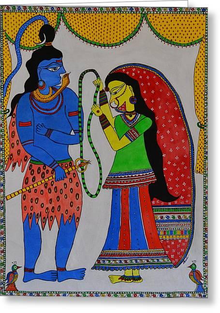 Hindu Goddess Greeting Cards - Shiv Parvati Greeting Card by Shruti Shubham