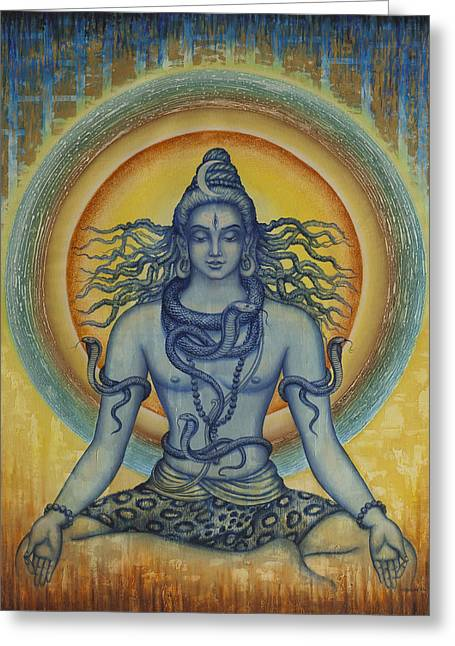 Cobra Art Greeting Cards - Shiva Greeting Card by Vrindavan Das