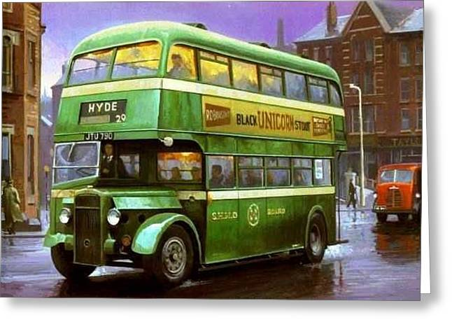 Streetscenes Paintings Greeting Cards - SHMD Daimler Greeting Card by Mike  Jeffries