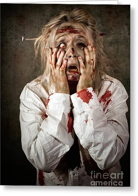Ghastly Greeting Cards - Shock horror. Surprised businesswoman zombie Greeting Card by Ryan Jorgensen