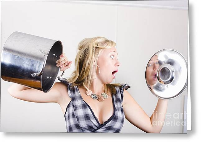 Shocked Woman Out Of Cooking Ingredients Greeting Card by Jorgo Photography - Wall Art Gallery