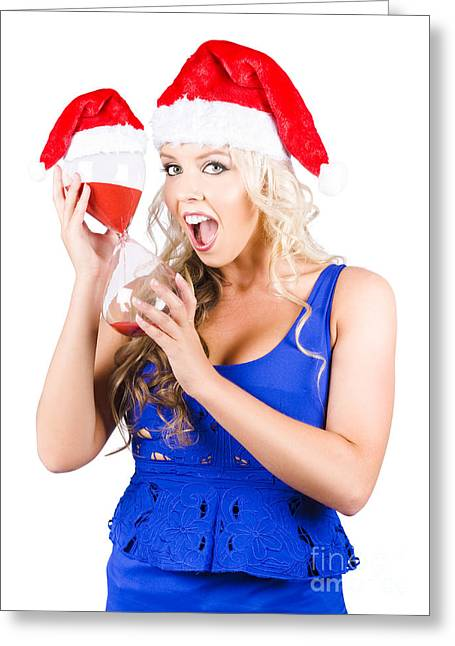 Closing Time Greeting Cards - Shocked Woman With Minutes Left To Christmas Time Greeting Card by Ryan Jorgensen