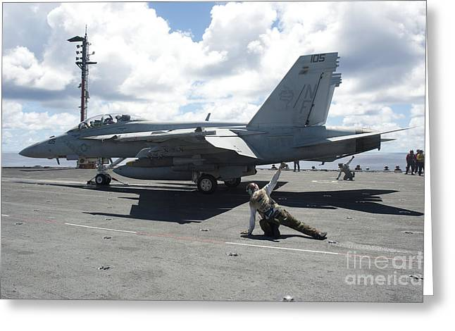 F-18 Greeting Cards - Shooters Give The Signal To Launch An Greeting Card by Stocktrek Images