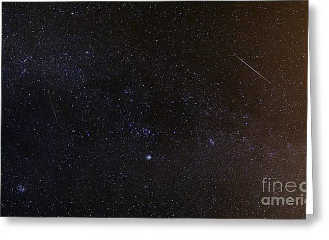 Geminids Greeting Cards - Shooting Stars And A Comet Greeting Card by Laurent Laveder