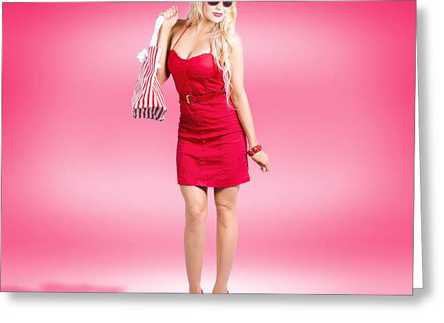 Youthful Photographs Greeting Cards - Shop till you drop. Female retail shopper in red Greeting Card by Ryan Jorgensen