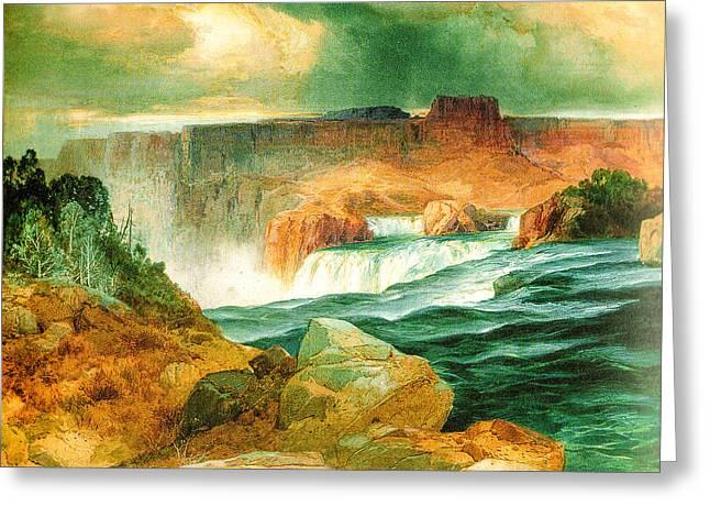 1874 Digital Greeting Cards - Shoshone Falls Idaho Greeting Card by Thomas Moran