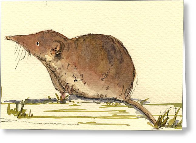 Mouse Greeting Cards - Shrew Greeting Card by Juan  Bosco
