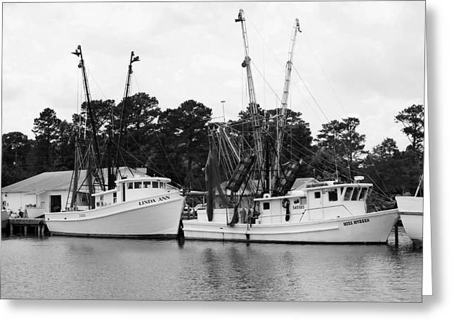 Snead Greeting Cards - Shrimp Boats Greeting Card by David Byron Keener