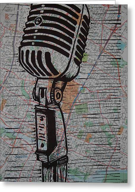 Best Sellers -  - Lino Greeting Cards - Shure 55s on map Greeting Card by William Cauthern