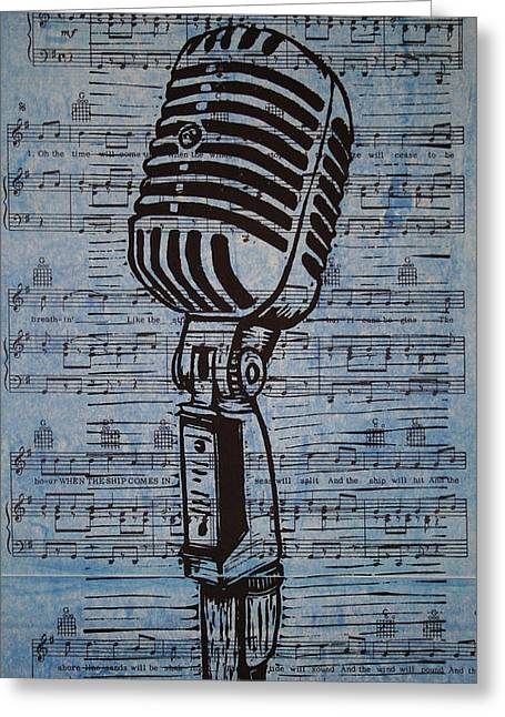 Bob Dylan Print Greeting Cards - Shure 55s on music Greeting Card by William Cauthern