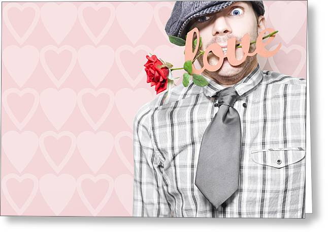 Lovesick Greeting Cards - Shy Young Romeo Boy In Love With Heart In Mouth Greeting Card by Ryan Jorgensen