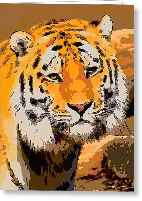 Prison Stripes Greeting Cards - Siberian tiger  Greeting Card by Toppart Sweden