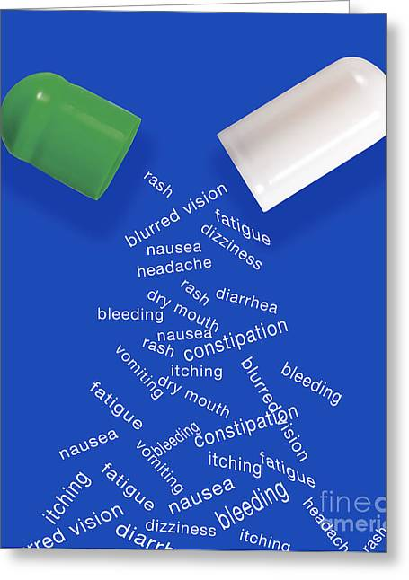 Medication Greeting Cards - Side Effects Of Medication Greeting Card by Monica Schroeder