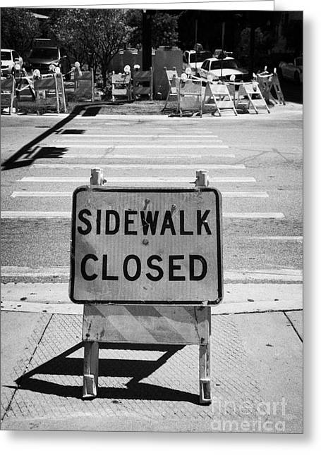 Sidewalk Closed Sign At Road Pedestrian Crossing Miami South Beach Florida Usa Greeting Card by Joe Fox