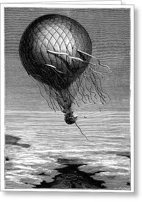 Siege Of Paris Balloon Flight Greeting Card by Science Photo Library