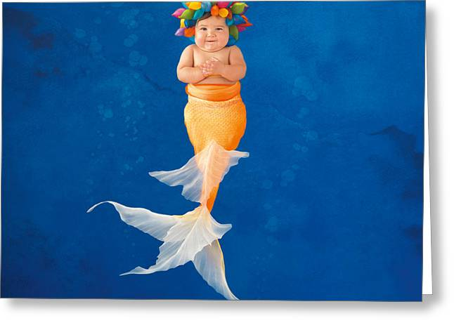 Babies Greeting Cards - Sienna as a Mermaid Greeting Card by Anne Geddes