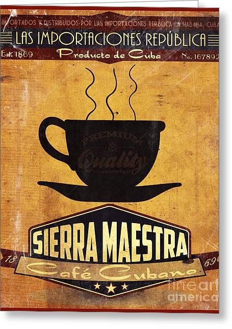 Havana Greeting Cards - Sierra Maestra Cuban Coffee Greeting Card by Cinema Photography