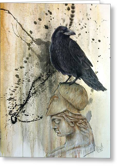 Poetry Pastels Greeting Cards - Silenced Raven. A tribute to Poe Greeting Card by John F Willis