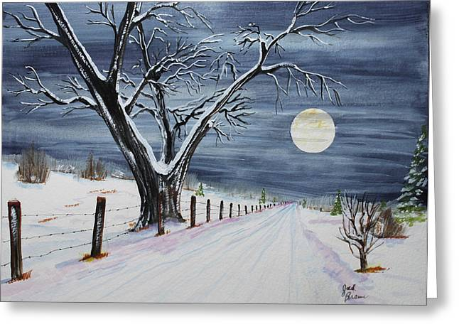 Silent Cold Night Greeting Card by Jack G  Brauer