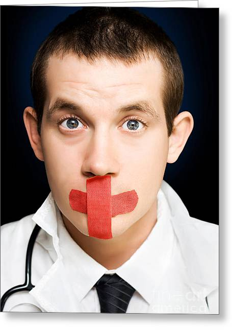 Shh Greeting Cards - Silent handsome doctor with cross bandage on face Greeting Card by Ryan Jorgensen
