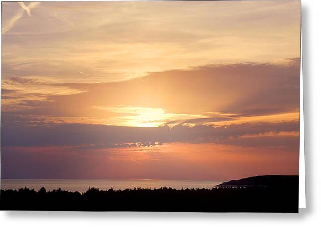 Reserve Pyrography Greeting Cards - Silent sunset at the sea Greeting Card by Oliver Sved