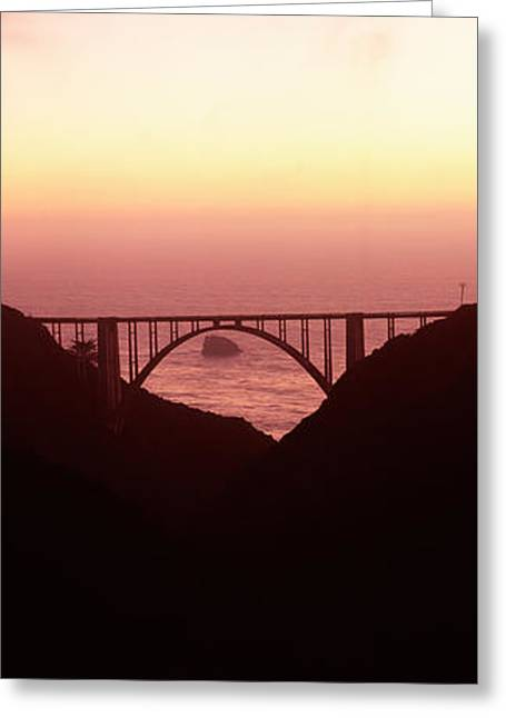 Big Sur California Greeting Cards - Silhouette Of A Bridge At Sunset, Bixby Greeting Card by Panoramic Images