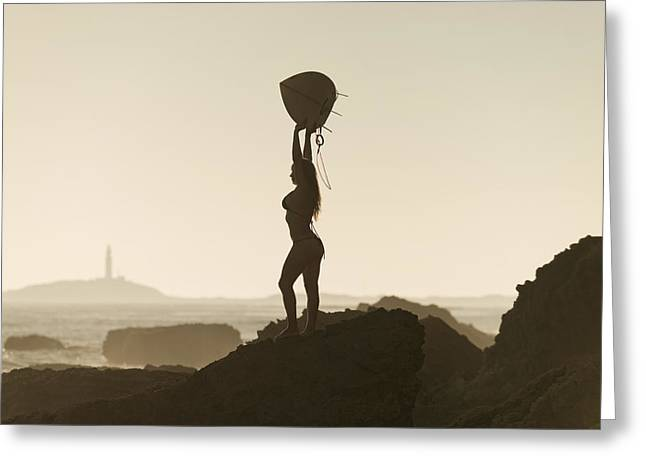 Swimsuits Swimming Costumes Greeting Cards - Silhouette Of A Female Surfer Holding Greeting Card by Ben Welsh
