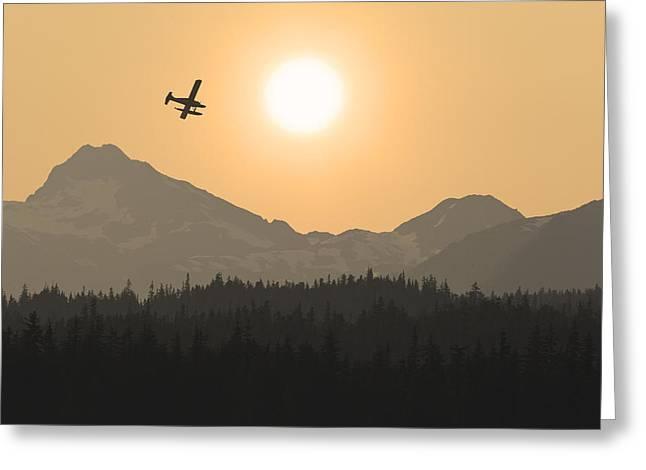 Floatplane Greeting Cards - Silhouette Of A Floatplane In Flight Greeting Card by John Hyde