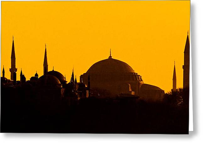 Ahmet Greeting Cards - Silhouette Of A Mosque, Blue Mosque Greeting Card by Panoramic Images