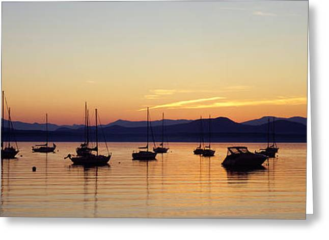 Silhouette Of Boats In A Lake, Lake Greeting Card by Panoramic Images