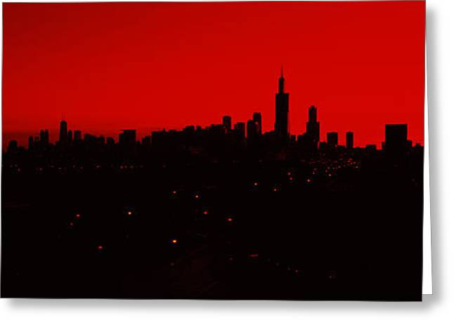 Romantic Photography Greeting Cards - Silhouette Of Buildings At Sunrise Greeting Card by Panoramic Images