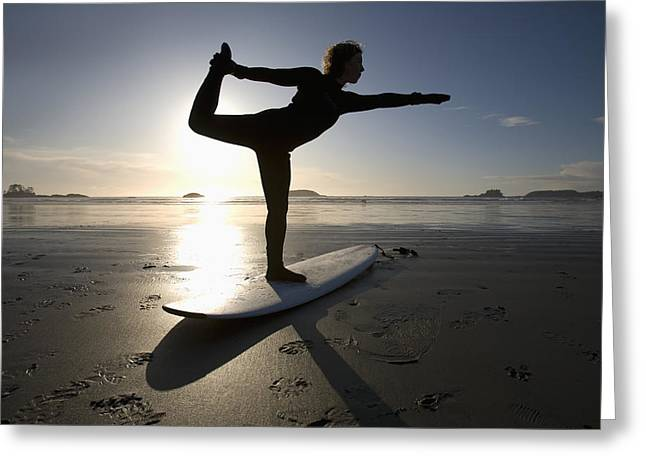 35-39 Years Greeting Cards - Silhouette Of Female Surfer Doing Bow Greeting Card by Deddeda