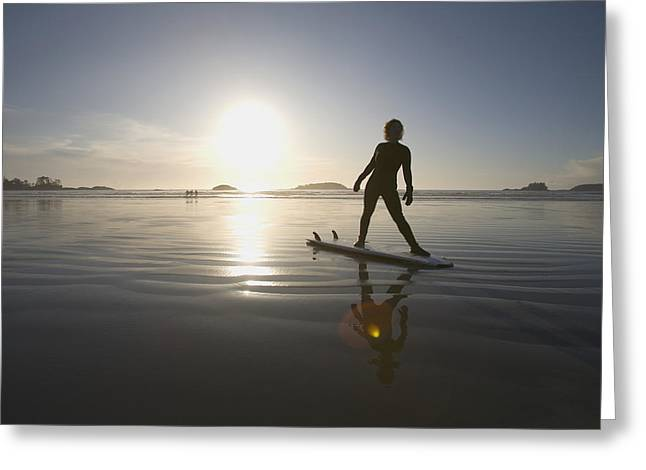 35-39 Years Greeting Cards - Silhouette Of Female Surfer Doing Yoga Greeting Card by Deddeda