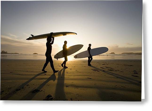 30-35 Years Greeting Cards - Silhouette Of Three Surfers Carrying Greeting Card by Deddeda