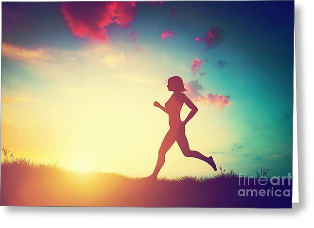 Jogging Greeting Cards - Silhouette of woman running at sunset Greeting Card by Michal Bednarek