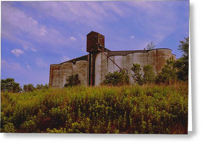 Old Feed Mills Photographs Greeting Cards - Silos in The Field Greeting Card by Jim Markiewicz