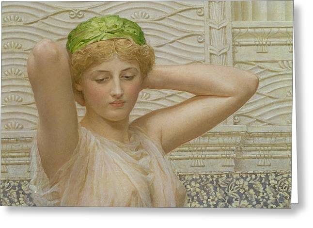 Powder Room Greeting Cards - Silver Greeting Card by Albert Joseph Moore