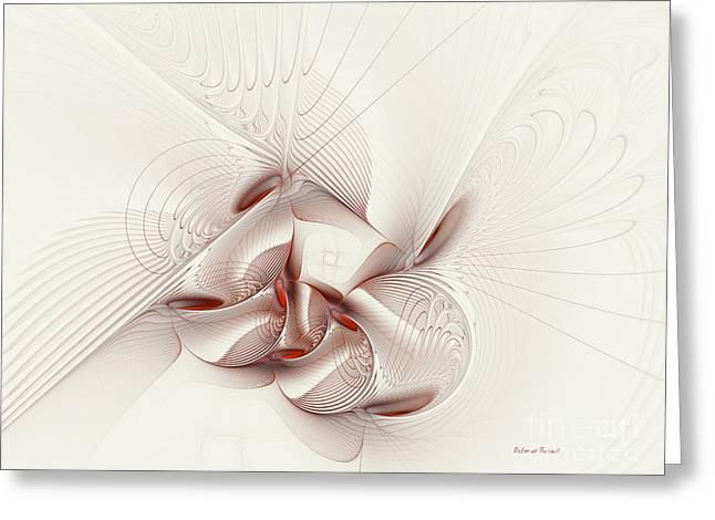 Geometric Digital Art Greeting Cards - Silver and Red Greeting Card by Deborah Benoit