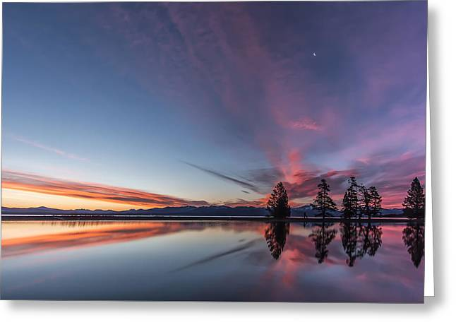 Yellowstone National Park Greeting Cards - Silver Moon Greeting Card by Jon Glaser