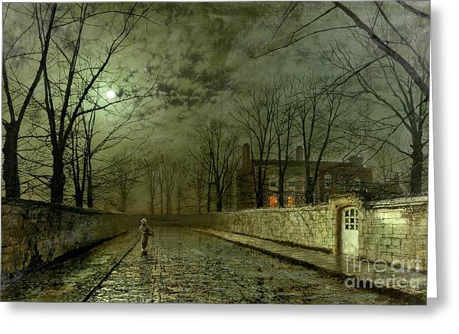 Beaming Greeting Cards - Silver Moonlight Greeting Card by John Atkinson Grimshaw