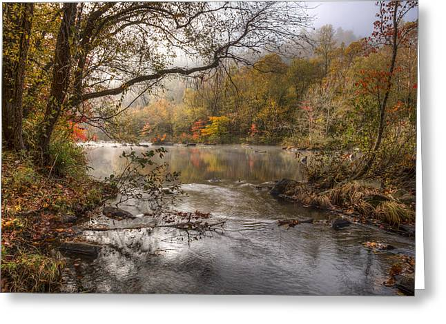 Rivers In The Fall Photographs Greeting Cards - Silver Stream Greeting Card by Debra and Dave Vanderlaan