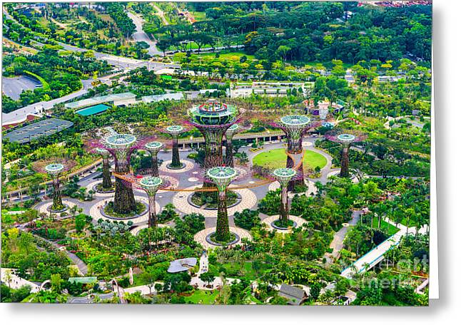 Buildings By The Sea Greeting Cards - SINGAPORE - Gardens by the bay Greeting Card by Luciano Mortula