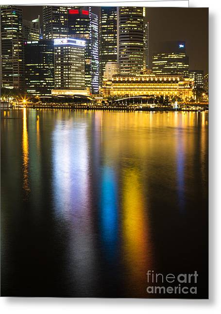 Modern Photographs Greeting Cards - Singapore reflection Greeting Card by Didier Marti