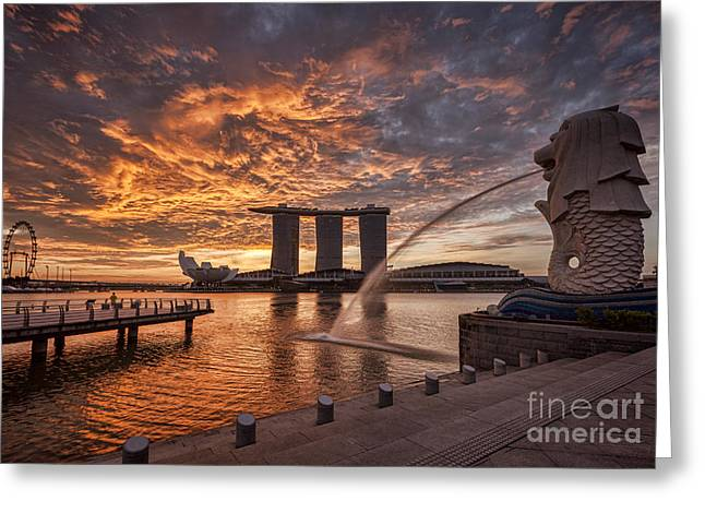 Flyer Greeting Cards - Singapore Skyline Greeting Card by Colin and Linda McKie