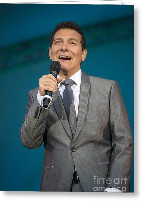 Feinstein Greeting Cards - Singer Michael Feinstein performing with the Pasadena Pops. Greeting Card by Jamie Pham